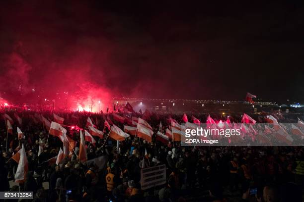 Flares and Polish flags as thousands gather for the annual nationalist march of Poland´s Independency Day Poland's Independence Day is a annual day...