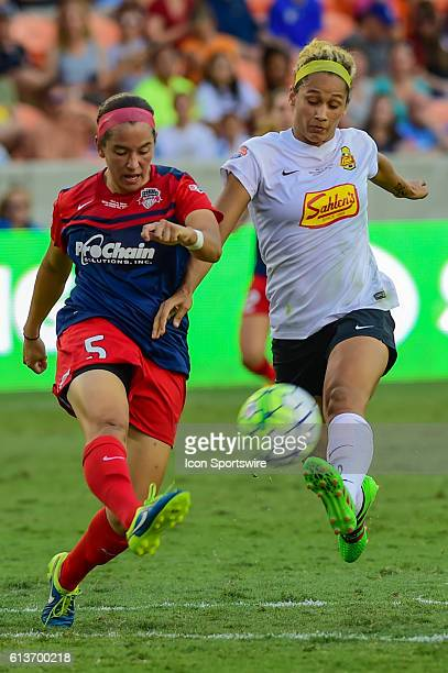 Flash forward Lynn Williams and Washington Spirit defender Whitney Church fight for a loose ball during the 2016 NWSL Championship soccer match...