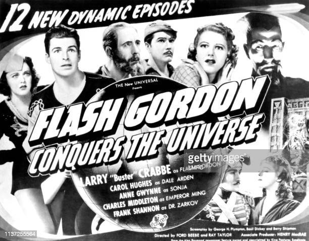 Flash Gordon Conquers The Universe poster from left Carol Hughes Buster Crabbe Frank Shannon Roland Drew Anne Gwynne Charles Middleton 1940