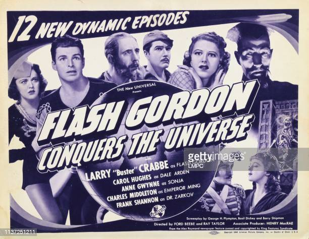 Flash Gordon Conquers The Universe US lobbycard from left Carol Hughes Buster Crabbe Frank Shannon Roland Drew Anne Gwynne Charles Middleton 1940