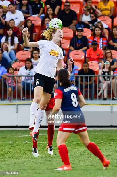 Flash midfielder Samantha Mewis wins the header during the 2016 NWSL Championship soccer match between WNY Flash and Washington Spirit at BBVA...