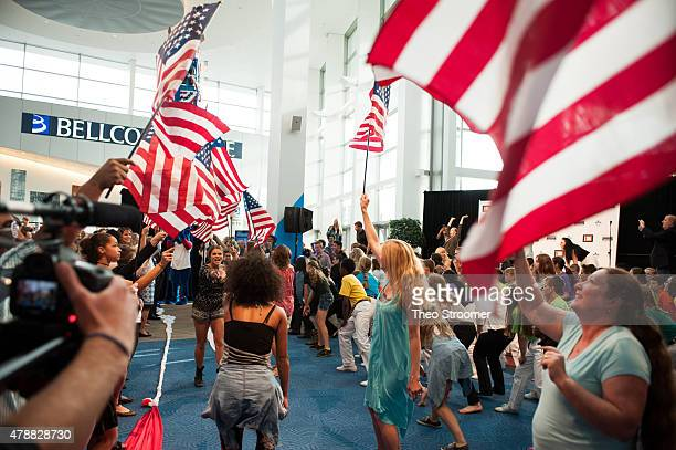 A flash mob of Colorado Christian University students and the Shadowlight Theater dance team performs during the Western Conservative Summit at the...