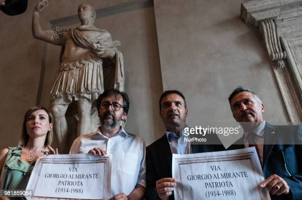 Flash mob of the Capitoline group of Italian Brothers in the Julius Caesar Hall who during the suspension of the session met at the end of the room...