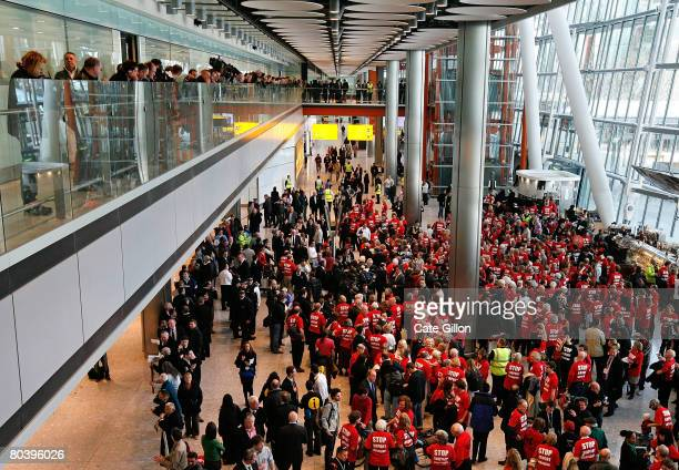 A flash mob protest descends upon Terminal 5 International Arrivals on March 27 2008 in London England Terminal 5 opened to the public for its first...