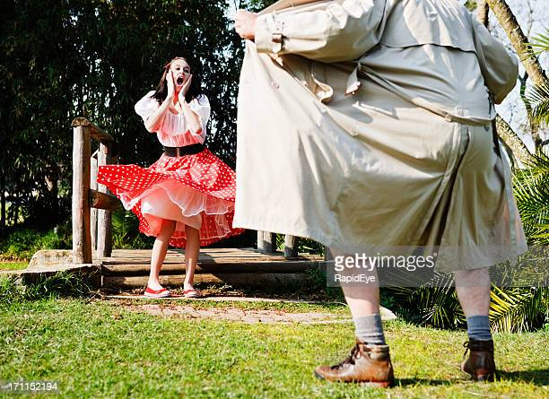 flasher exposes himself to terrified young girl - female flasher stock pictures, royalty-free photos & images