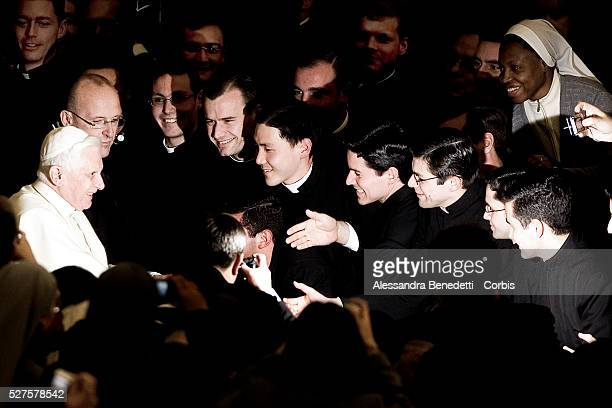 Flashes enlights Pope Benedict XVI upon his arrival at the Nervi Hall to attend a concert conducted by Proinnsias O' Duinn and performed by RTE'...