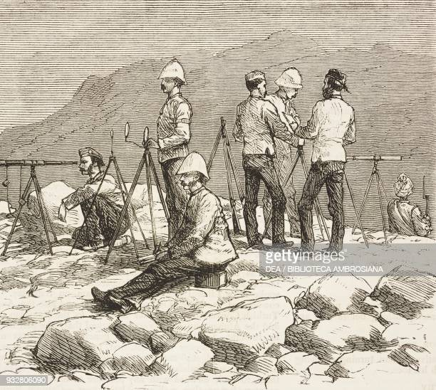 Flashing press telegrams at Lundi Kotul preparing for the spring campaign Second AngloAfghan War illustration from the magazine The Graphic volume...