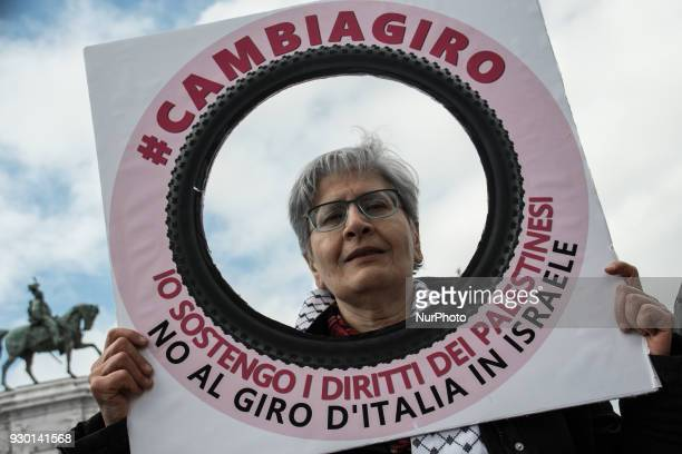 Flashmob to protest against the start of the next Giro d'Italia cycling from Israel in the International Day #cambiagiroon March 10 2018 in Rome Italy