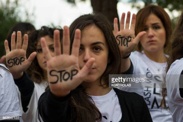 Flashmob to say 'NO' to violence against women and to remember Fabiana Luzzi who was killed at age 15 by her boyfriend in Corigliano Calabro southern...