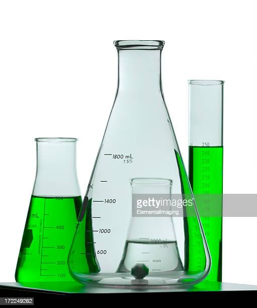 Flask on Stir Plate. Green Isolated  with Clipping Path