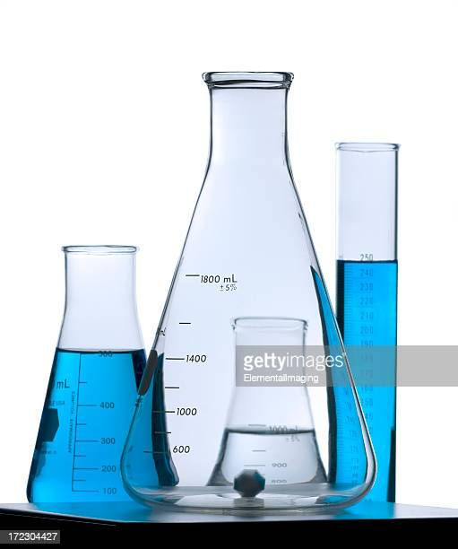 Flask on Stir Plate with Friends. Isolated w/Clipping Path