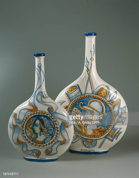 Flat bottles with decoration trophies lady and gentleman 16thcentury style 37 cm Ceramiche Artistiche Emanion manufacture Palermo Italy 20th century
