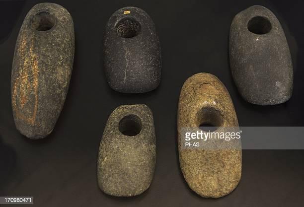 Flat hoe axes of greenstone 75005500 BC From Danish islands and Jutland National Museum of Denmark Copenhagen Denmark