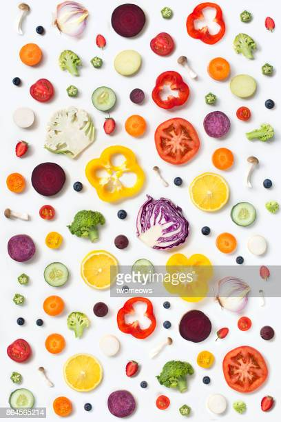 flat lay assorted vegan food slice on white background. - freshness stockfoto's en -beelden