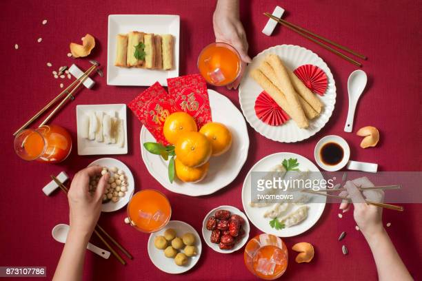 Flat lay Chinese new year food and drink still life.