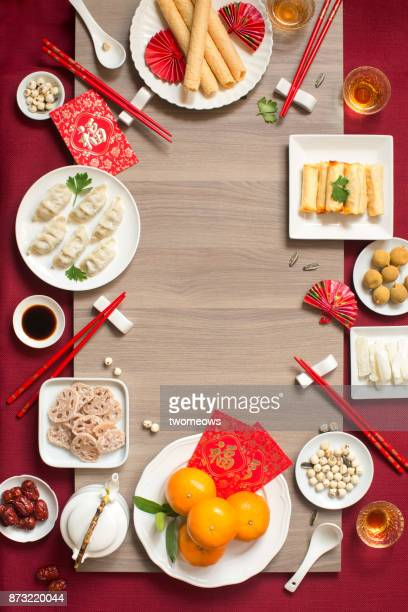 Flat lay Chinese new year reunion dinner, food and drink still life.
