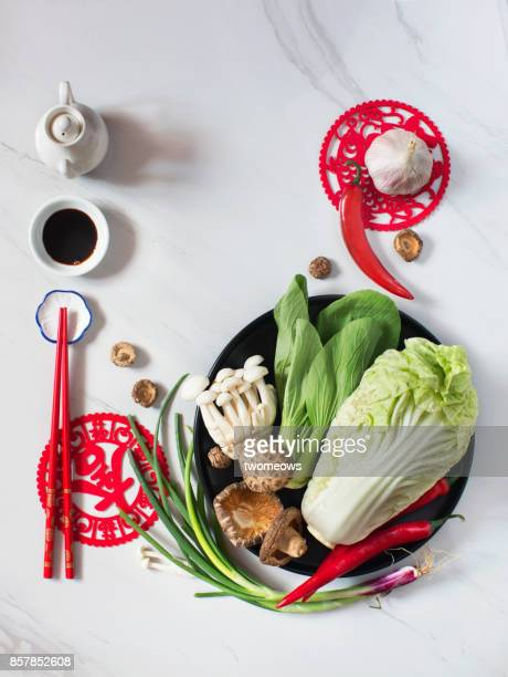 flat lay chinese vegan food still life. - soy sauce stock photos and pictures