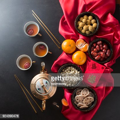 Flat lay Chinese wedding ceremony food and drink still life.