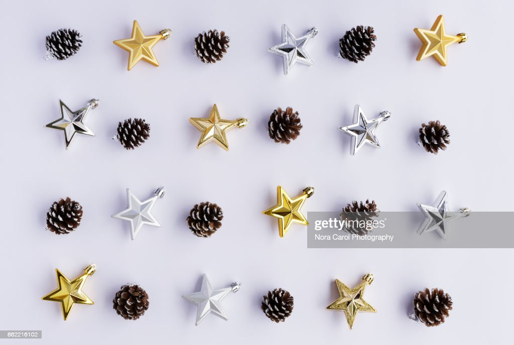 Flat Lay Christmas Background With Ornaments : Stock Photo