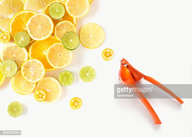 flat lay conceptual citrus fruits image. - citrus fruit stock pictures, royalty-free photos & images