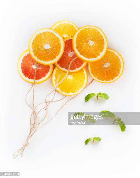Flat lay conceptual citrus fruits image.