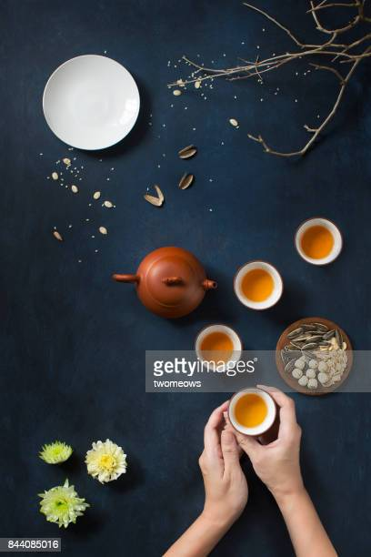 flat lay conceptual mid-autumn festival still life. - moon cake stock pictures, royalty-free photos & images