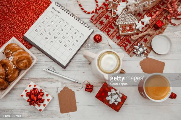 flat lay december calendar in white rustic background - 2019 2020 calendar stock pictures, royalty-free photos & images