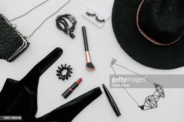 flat lay fashion black accessories for blogger stylish woman - personal accessory stock pictures, royalty-free photos & images