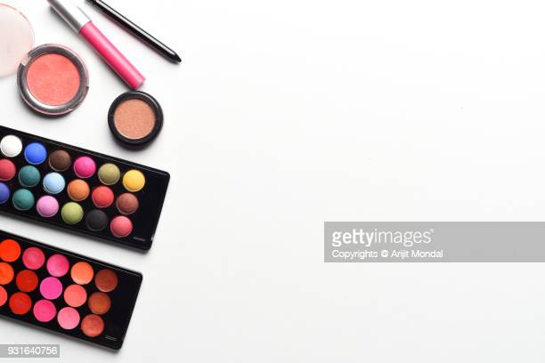Flat Lay Glamour Makeup, Beauty Products On White Background Work Desk Top View Copy Space