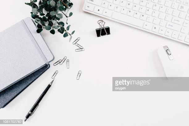 flat lay home office workspace - flat lay stock pictures, royalty-free photos & images