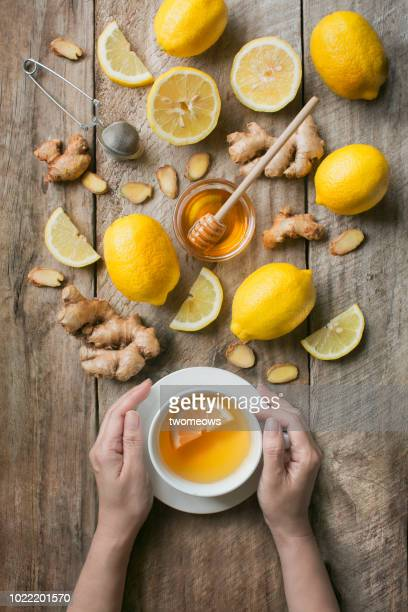 Flat lay honey lemon ginger tea.