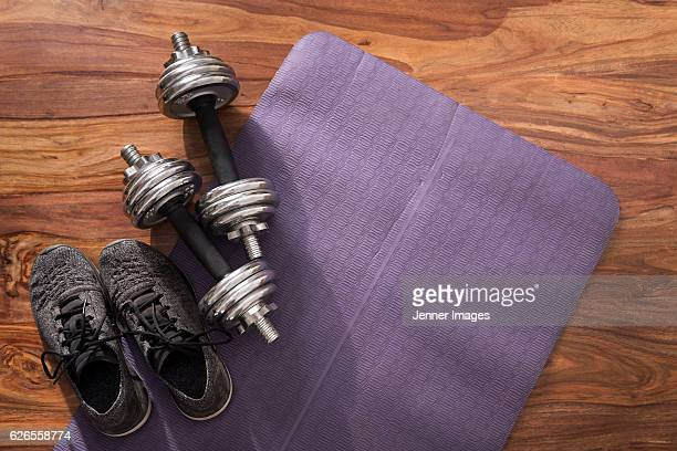 Flat Lay image of dumbbell's on a fitness mat.