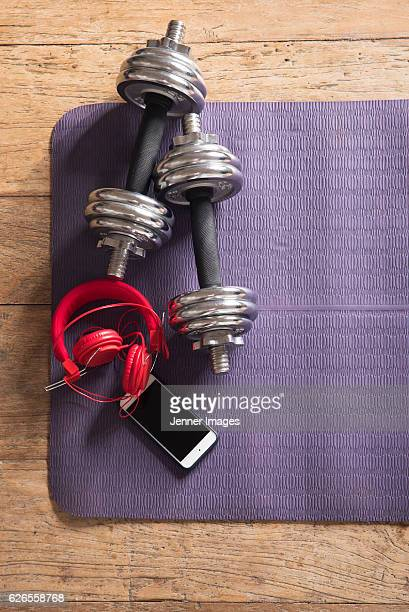 Flat Lay image of Fitness equipment.