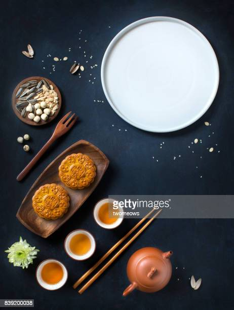 Flat lay mid autumn festival food and drink table top shot.