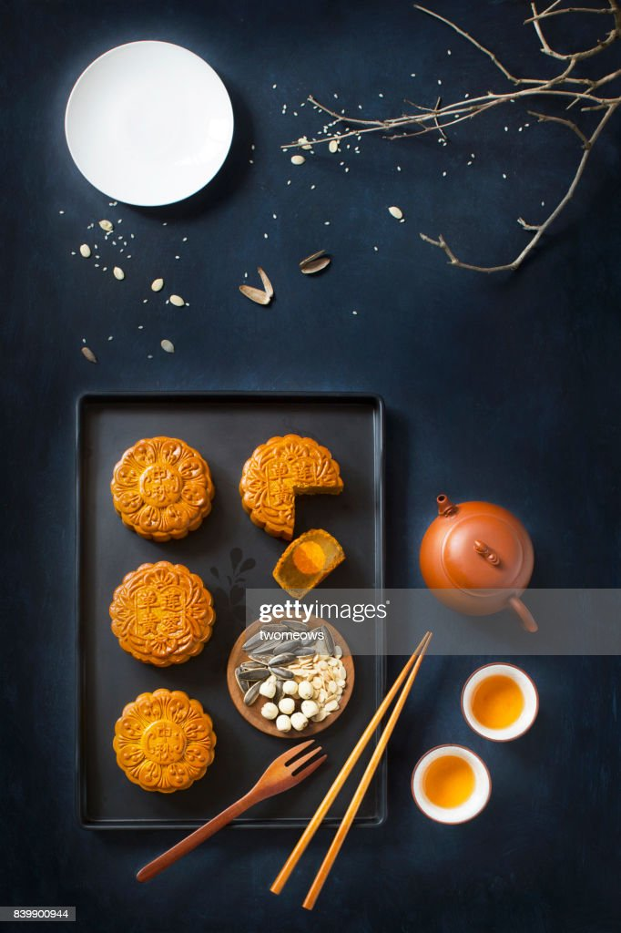 Flat lay mid autumn festival food and drink table top shot. : Stock Photo