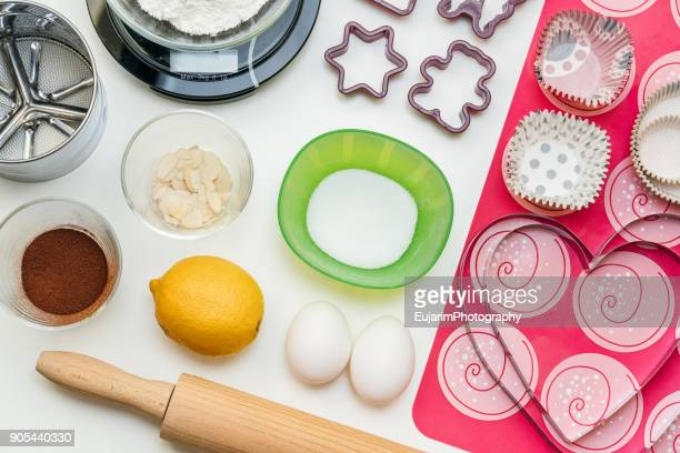 Flat lay of baking utensils and ingredients