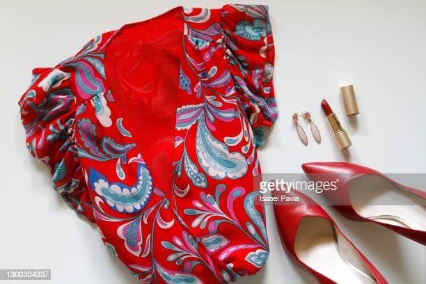 flat lay of female clothes and accessories - handbag stock pictures, royalty-free photos & images