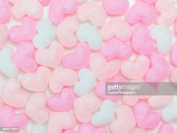 Flat lay of heart shaped packaging foam cushions