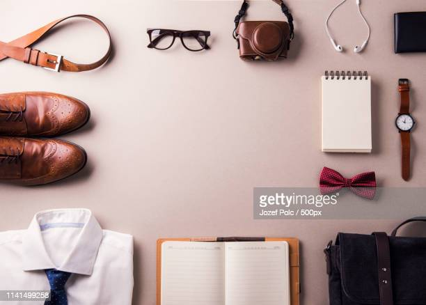 flat lay of masculine objects - masculinity stock pictures, royalty-free photos & images