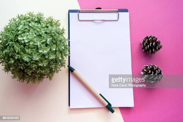 Flat Lay of Office Desk With Paper - New Year Concept