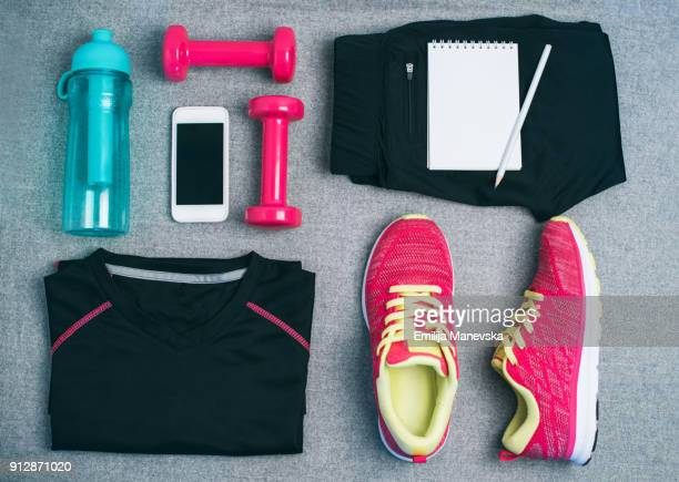 Flat lay of sport equipment