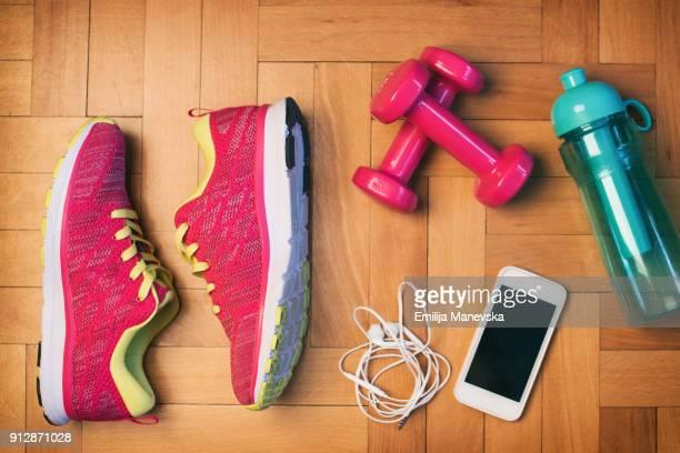 Flat lay of sport equipment