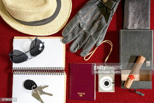 Flat Lay Of Travel Items
