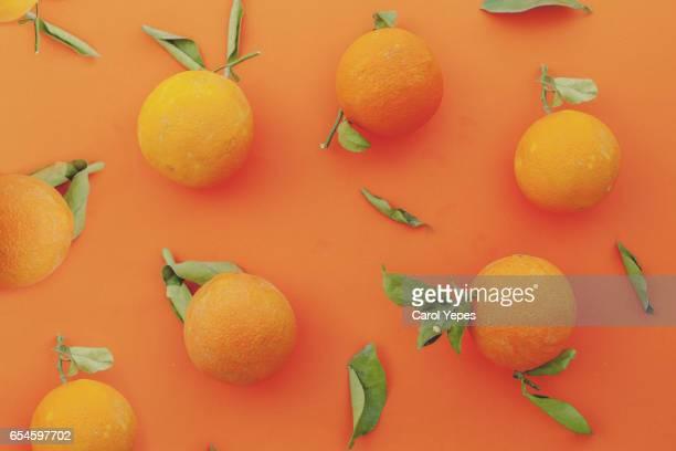 flat lay organic oranges in a orange background