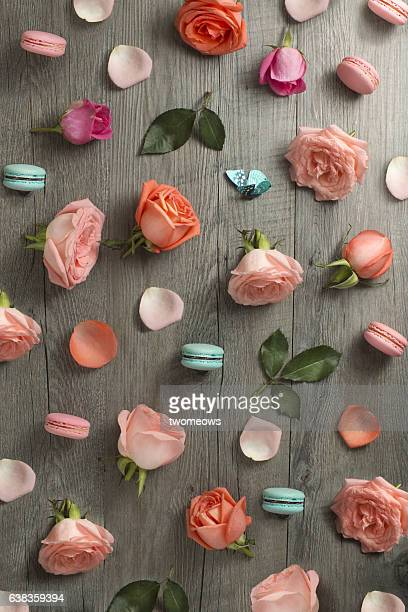 Flat lay rose floral background.