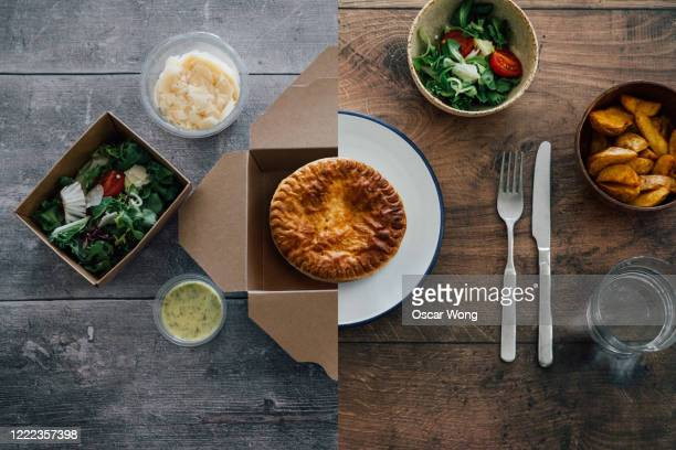 flat lay shot of european food - half in takeaway box, half on plate - crockery stock pictures, royalty-free photos & images