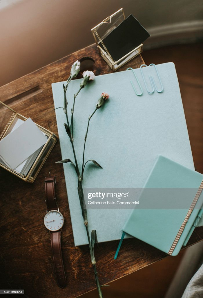 Flat lay Stationary Set : Stock Photo