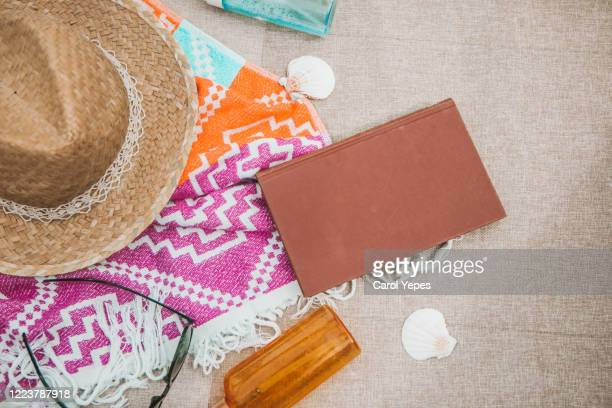 flat lay summer reading concept - neckwear stock pictures, royalty-free photos & images