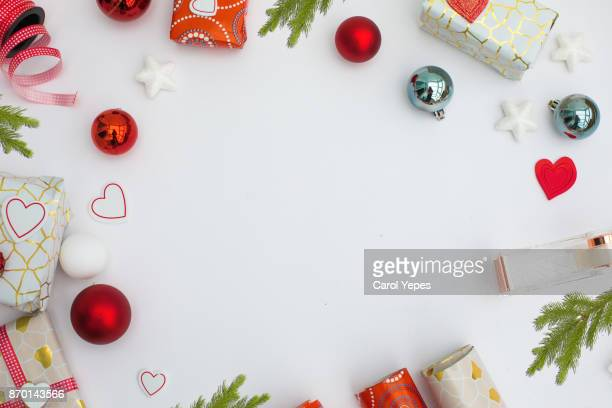 flat lay wrapping christmas gifts.frame