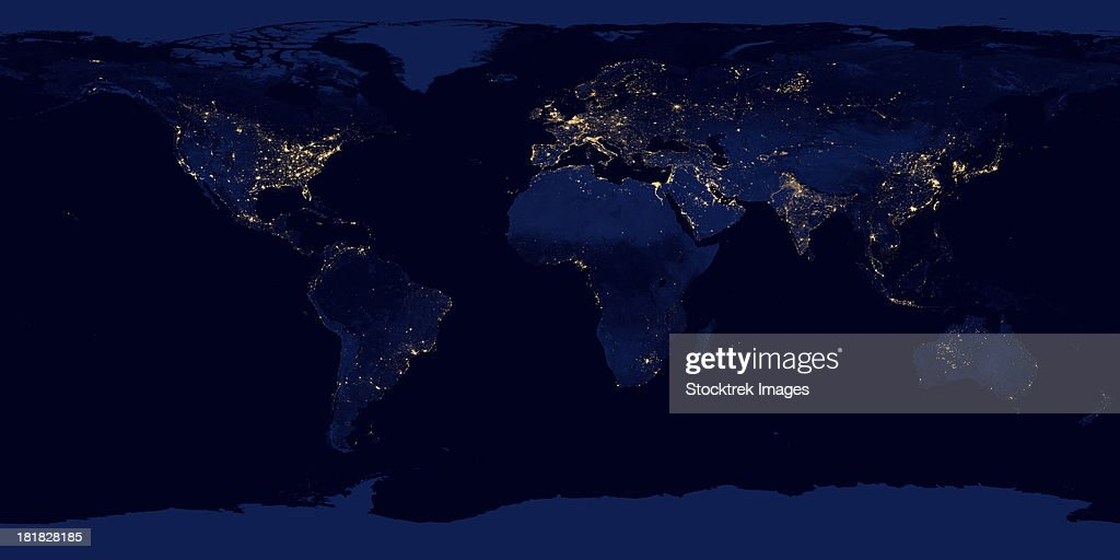Flat map of Earth showing city lights of the world at night. : Stock Photo